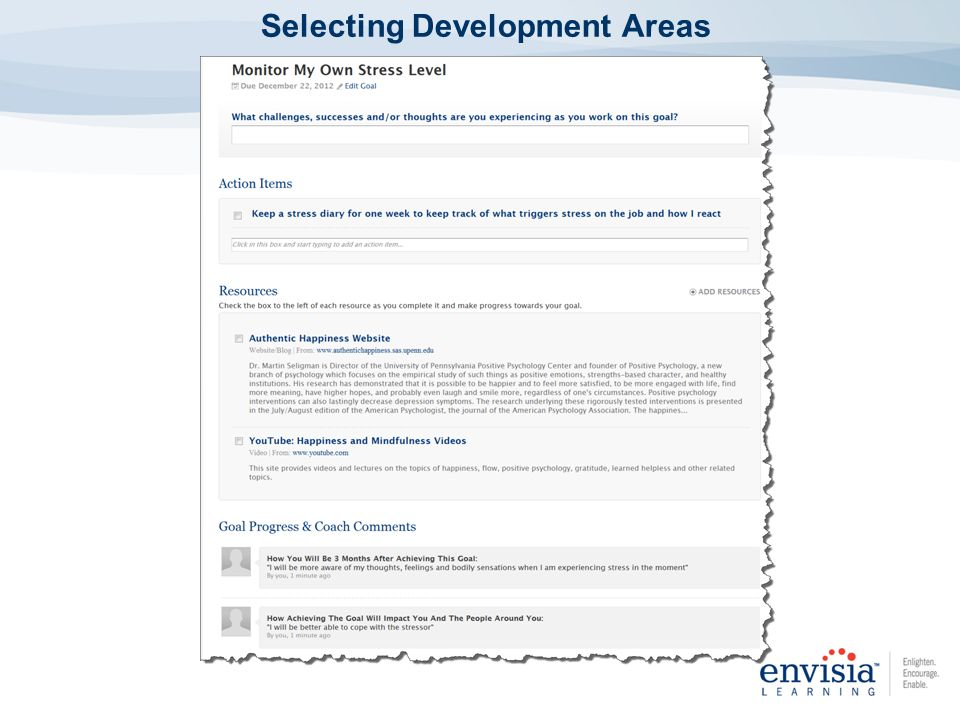 Selecting Development Areas