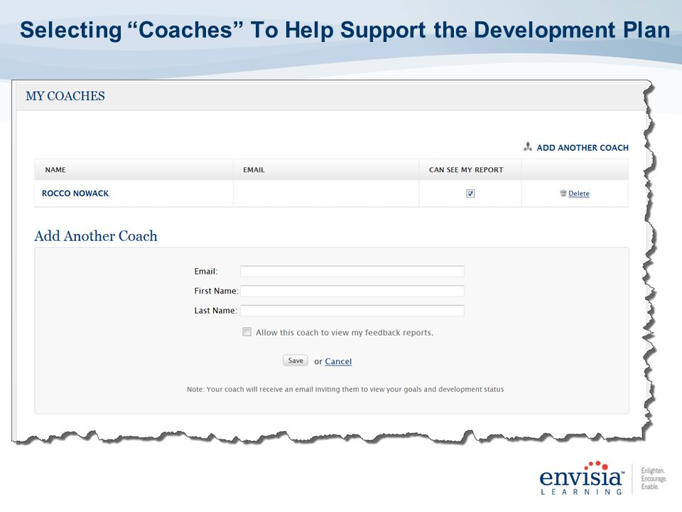 Selecting Coaches To Help Support the Development Plan