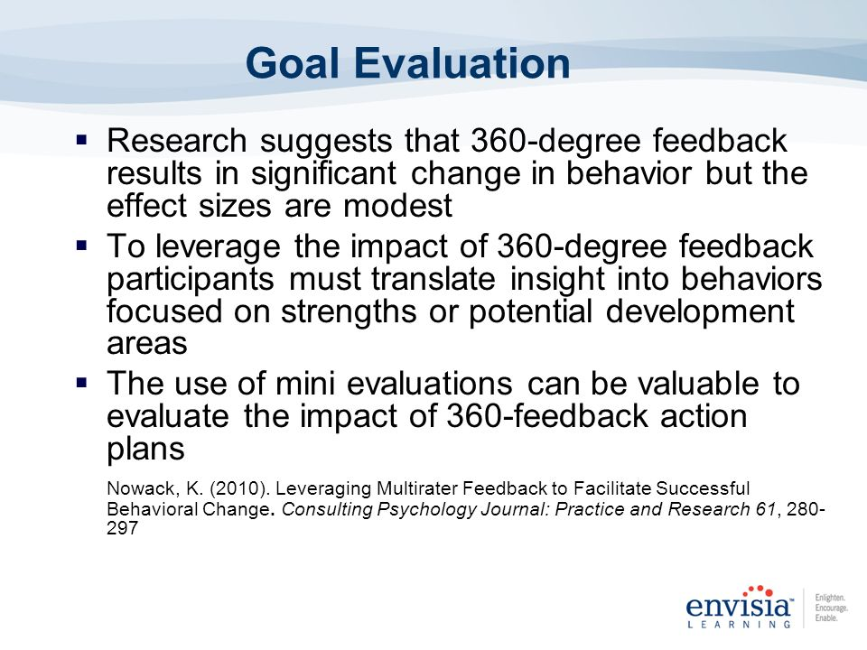 Goal Evaluation Research suggests that 360-degree feedback results in significant change in behavior but the effect sizes are modest.