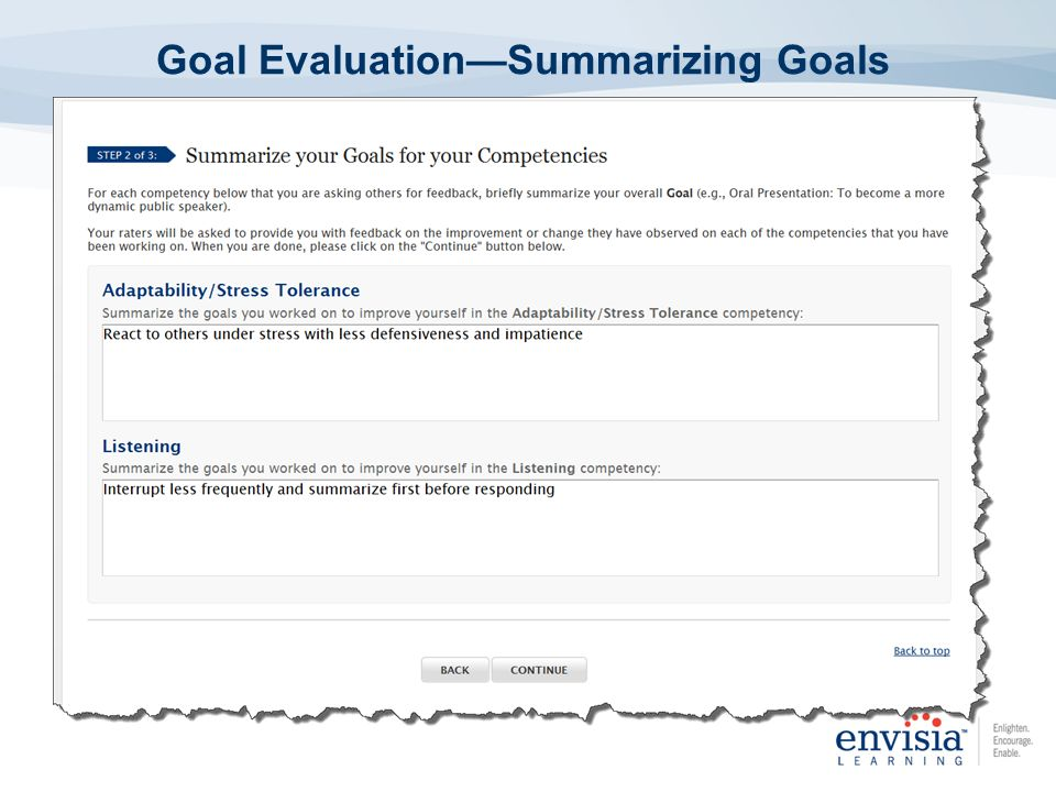 Goal Evaluation—Summarizing Goals