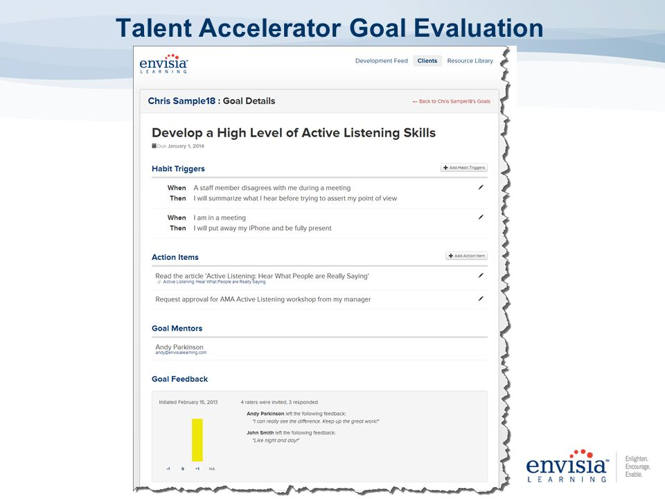 Talent Accelerator Goal Evaluation