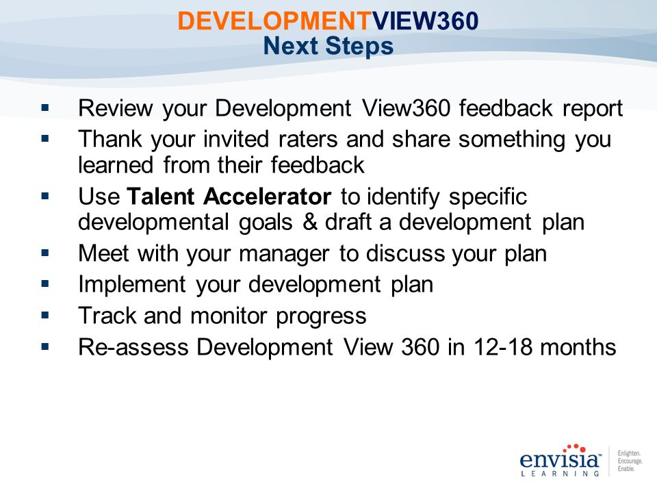 DEVELOPMENTVIEW360 Next Steps