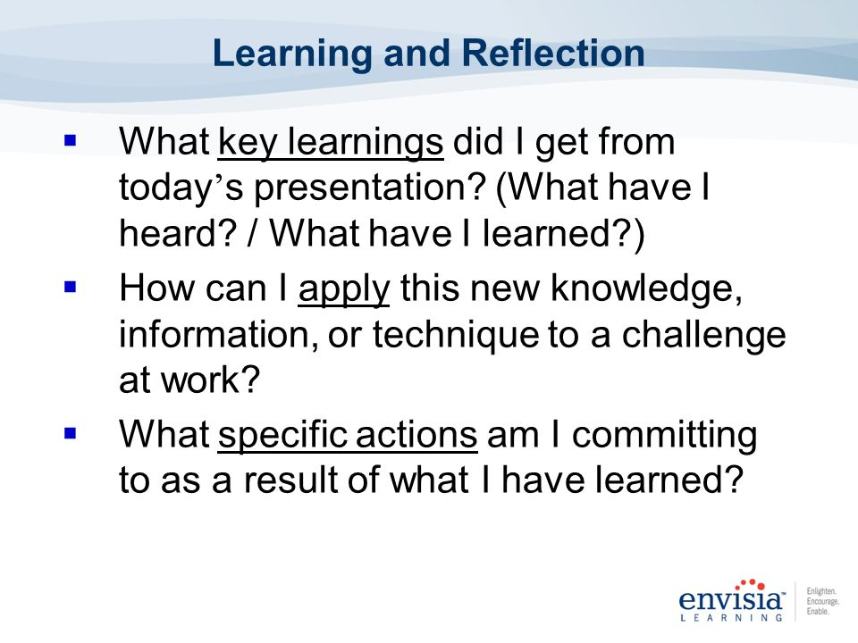 Learning and Reflection