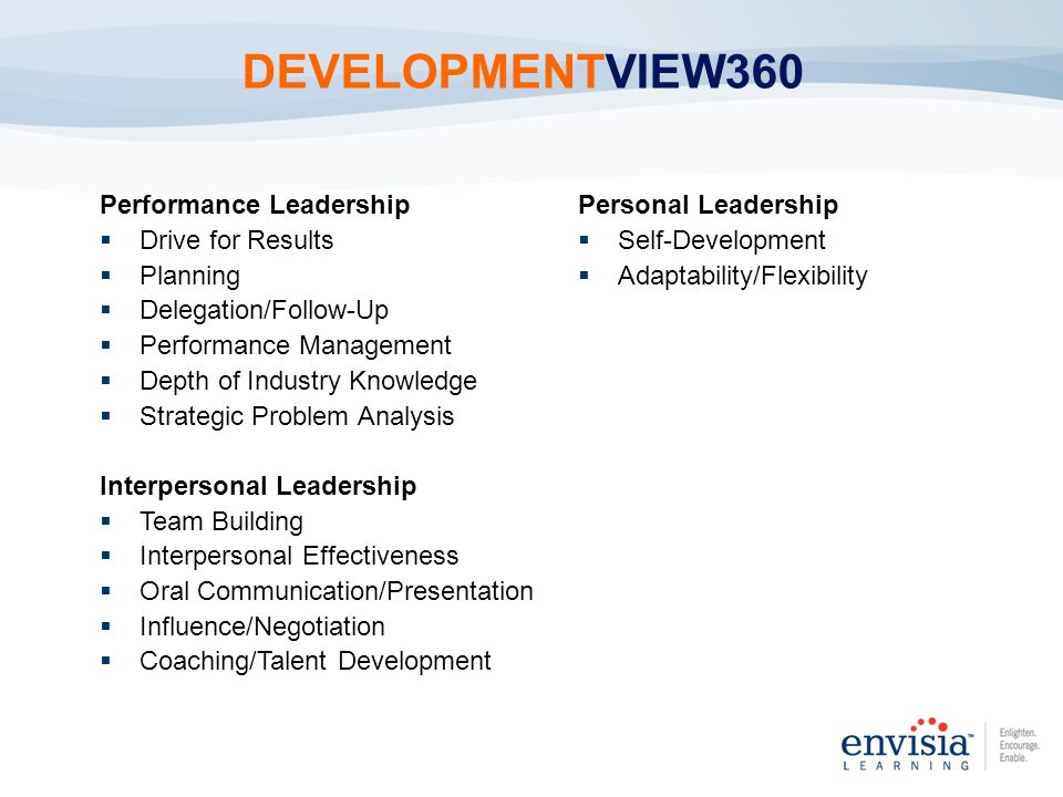 DEVELOPMENTVIEW360 Performance Leadership Drive for Results Planning