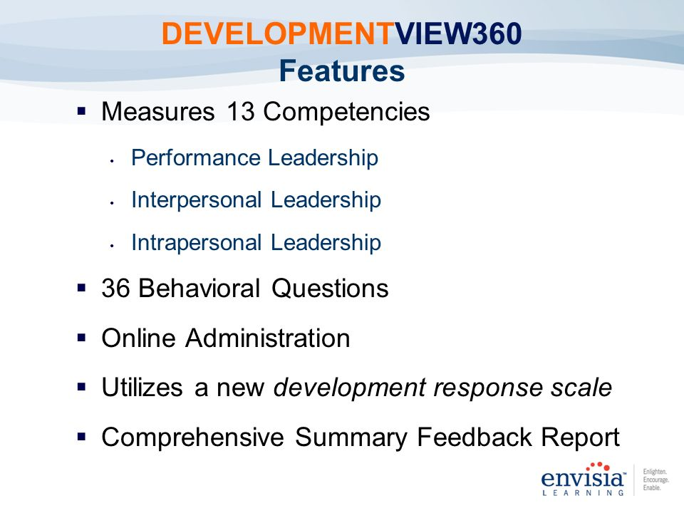 DEVELOPMENTVIEW360 Features Measures 13 Competencies