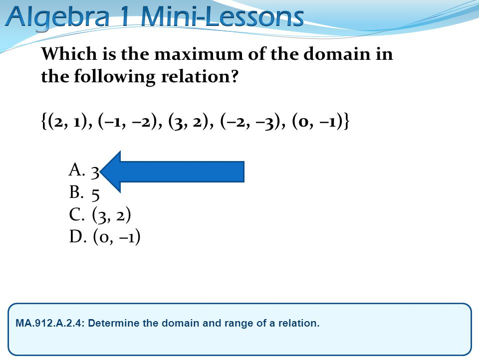 Algebra 1 Mini-Lessons Which is the maximum of the domain in the following relation {(2, 1), (−1, −2), (3, 2), (−2, −3), (0, −1)}