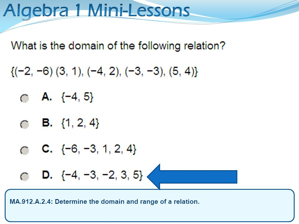 Algebra 1 Mini-Lessons MA.912.A.2.4: Determine the domain and range of a relation.