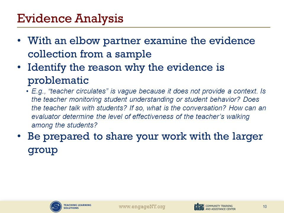 Evidence Analysis With an elbow partner examine the evidence collection from a sample. Identify the reason why the evidence is problematic.