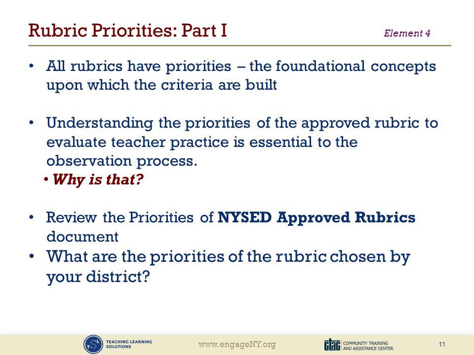 Rubric Priorities: Part I Element 4