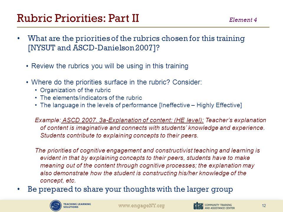 Rubric Priorities: Part II Element 4