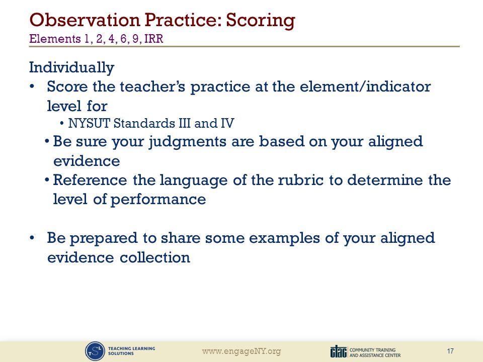 Observation Practice: Scoring Elements 1, 2, 4, 6, 9, IRR