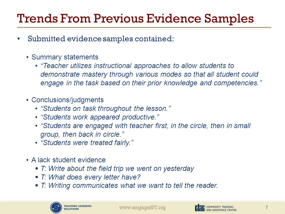 Trends From Previous Evidence Samples