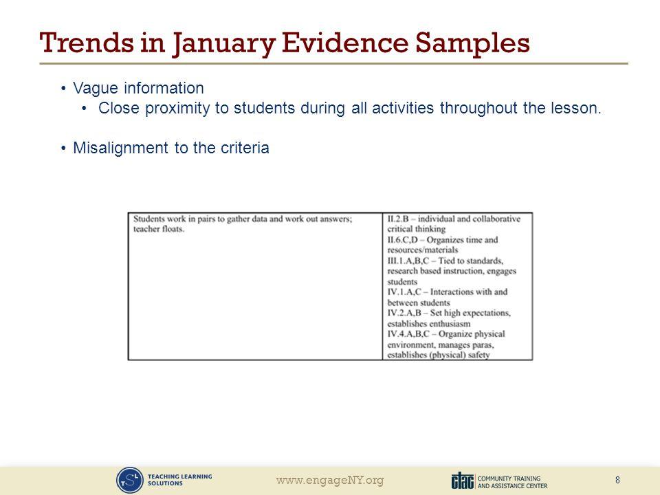 Trends in January Evidence Samples