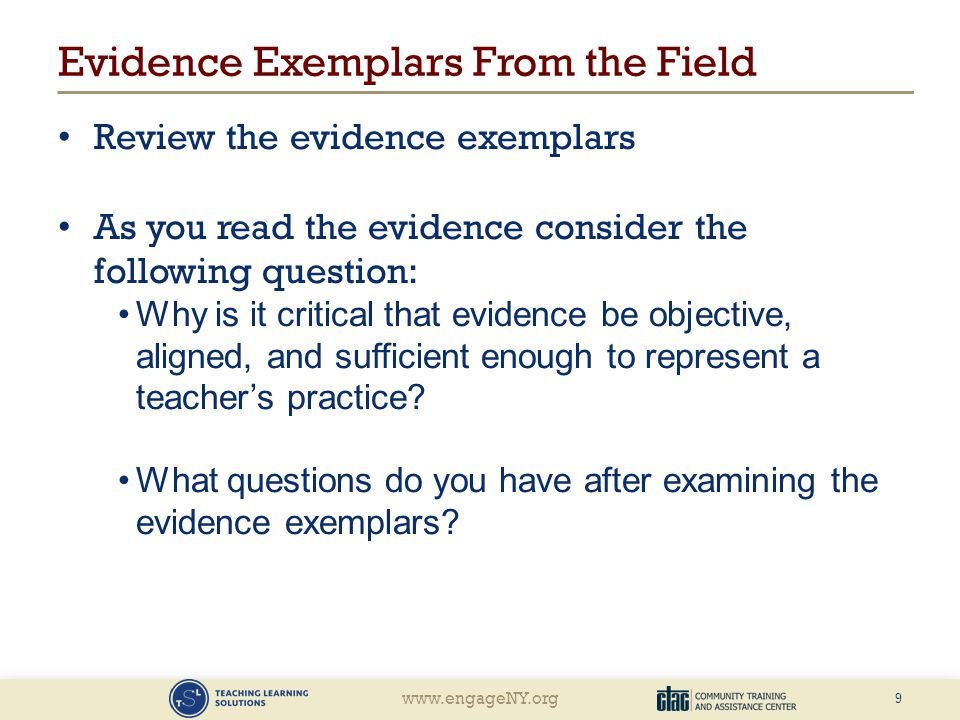 Evidence Exemplars From the Field