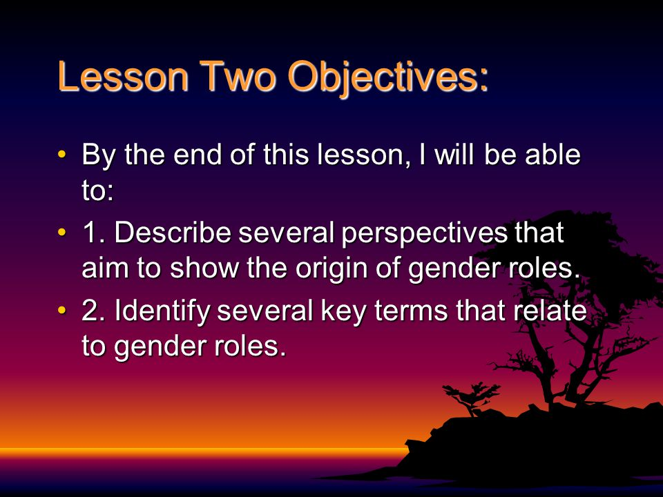 Lesson Two Objectives: