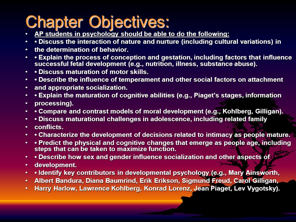 Chapter Objectives: AP students in psychology should be able to do the following: