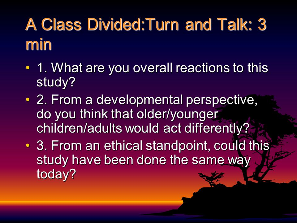 A Class Divided:Turn and Talk: 3 min