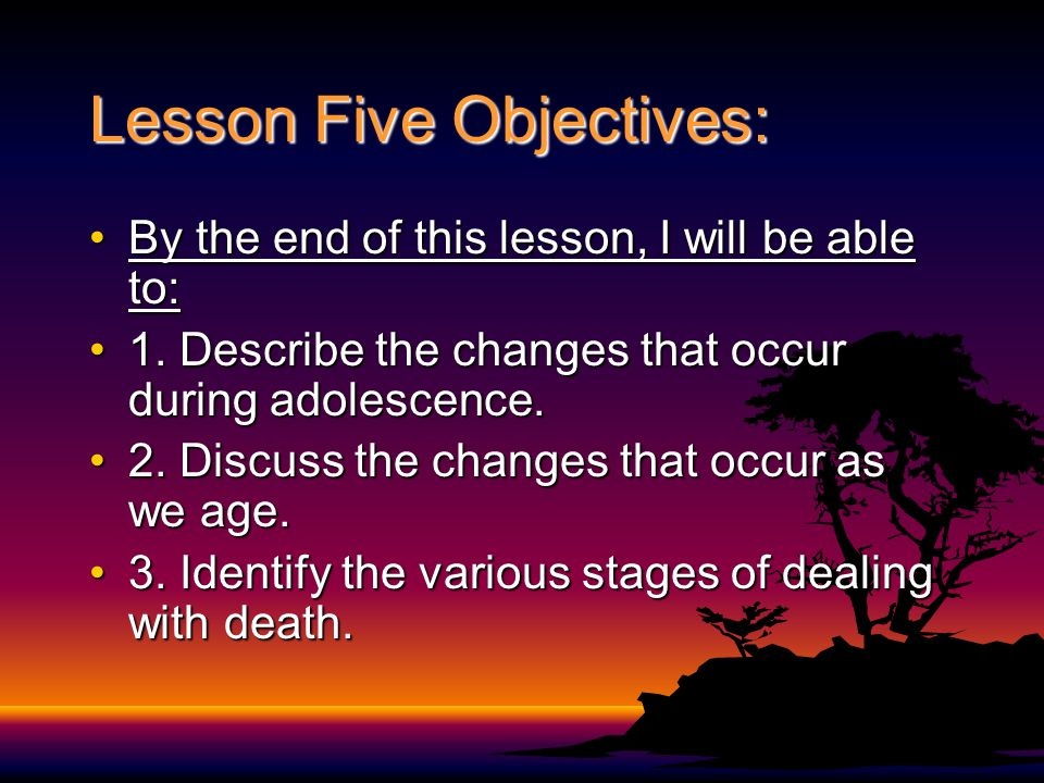 Lesson Five Objectives: