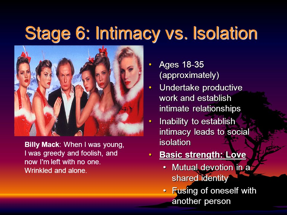 Stage 6: Intimacy vs. Isolation