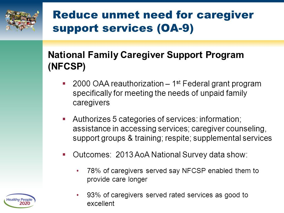 Reduce unmet need for caregiver support services (OA-9)