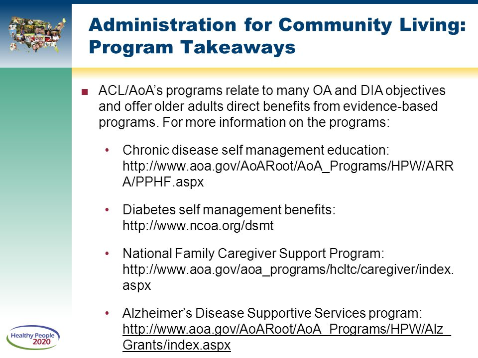 Administration for Community Living: Program Takeaways