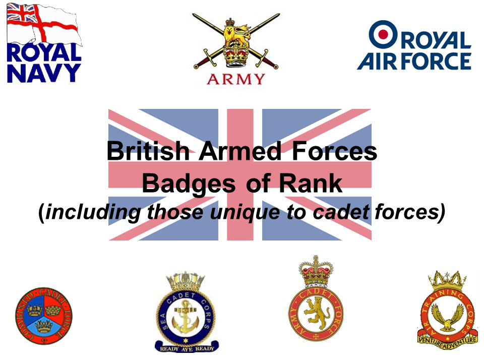 British Armed Forces Badges of Rank (including those unique to cadet forces)