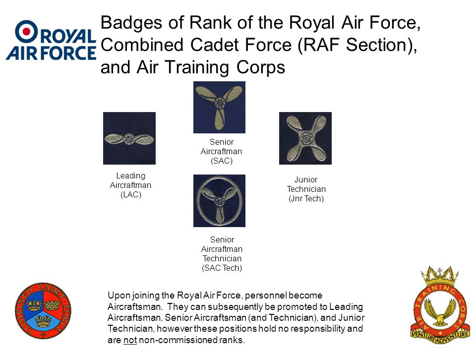 Badges of Rank of the Royal Air Force, Combined Cadet Force (RAF Section), and Air Training Corps