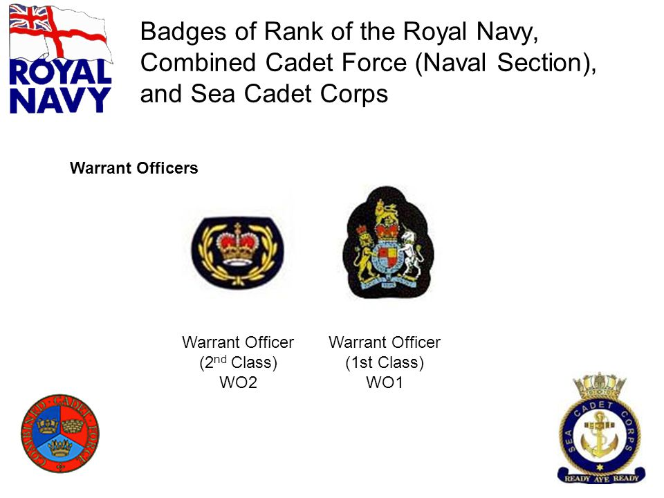 Badges of Rank of the Royal Navy, Combined Cadet Force (Naval Section), and Sea Cadet Corps