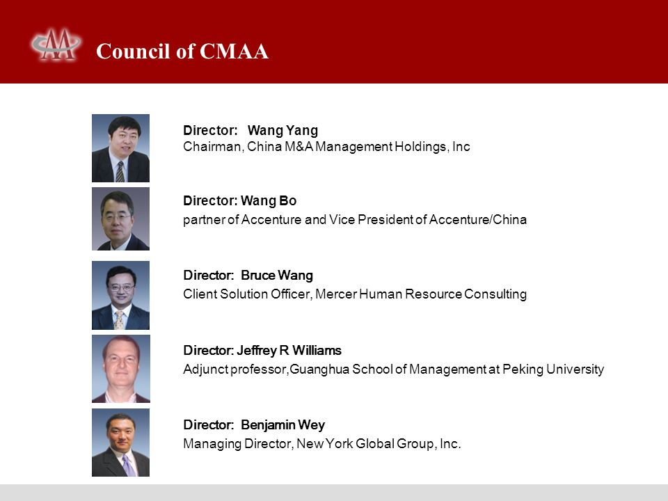 Council of CMAA Director: Wang Yang