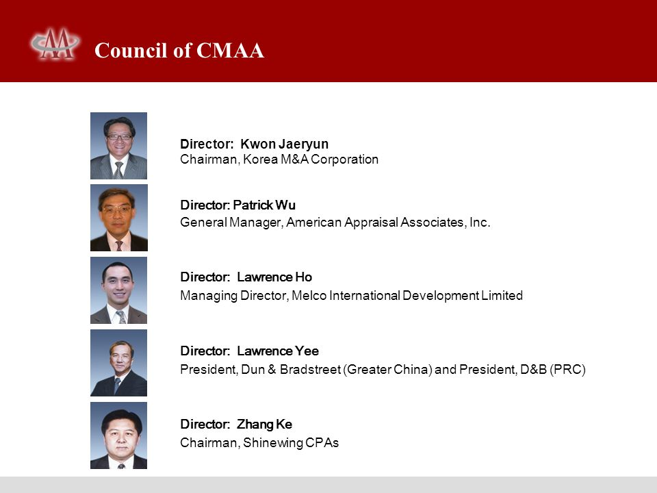 Council of CMAA Director: Kwon Jaeryun Chairman, Korea M&A Corporation