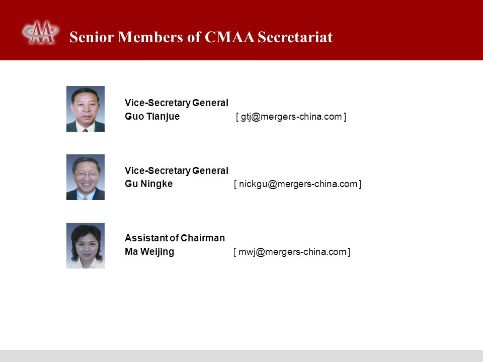 Senior Members of CMAA Secretariat