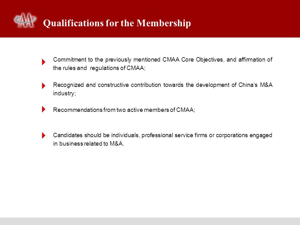 Qualifications for the Membership