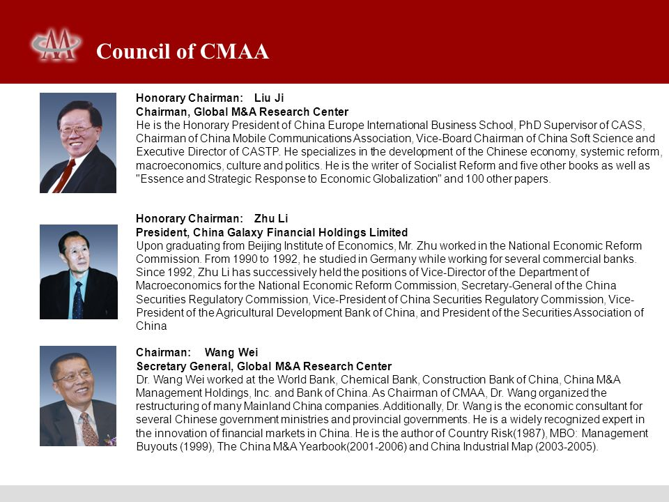 Council of CMAA Honorary Chairman: Liu Ji