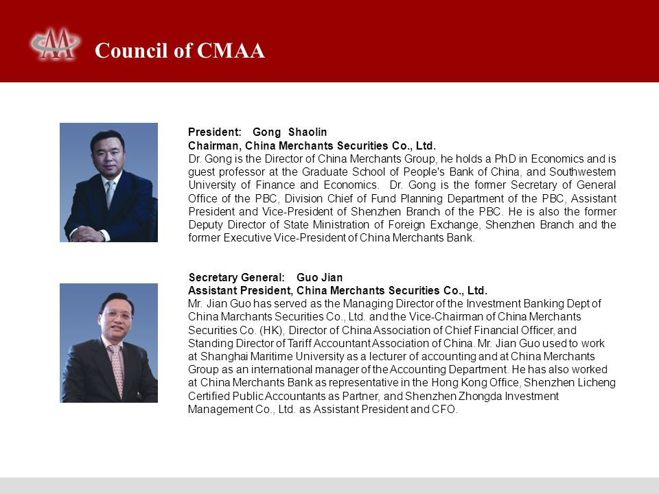 Council of CMAA President: Gong Shaolin