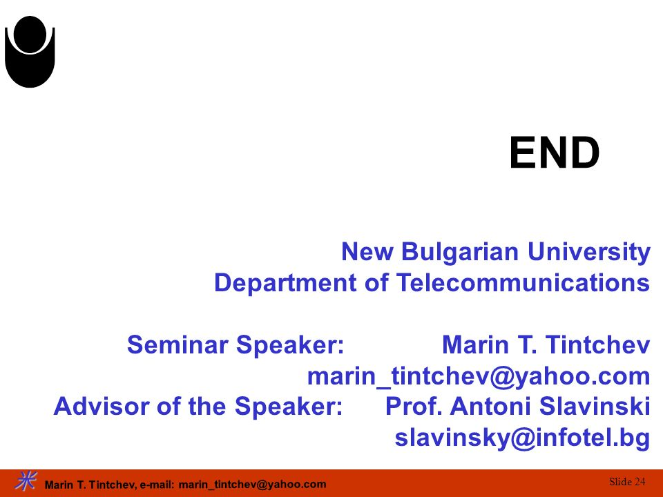 END New Bulgarian University Department of Telecommunications