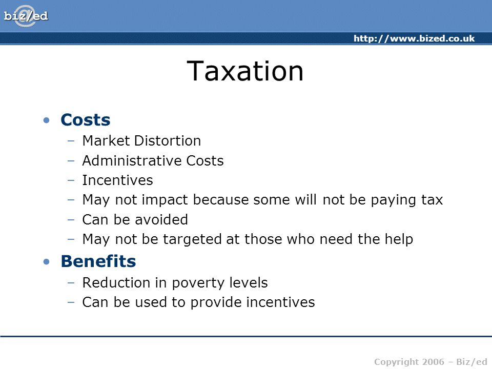 Taxation Costs Benefits Market Distortion Administrative Costs