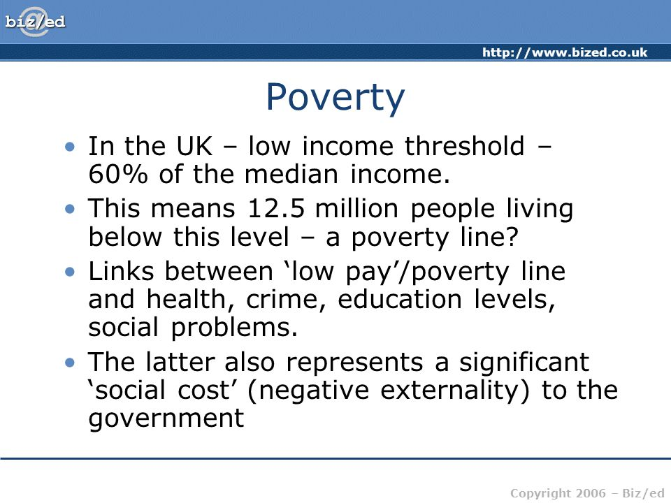 Poverty In the UK – low income threshold – 60% of the median income.