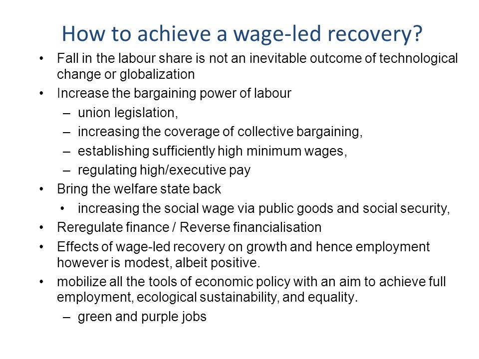 How to achieve a wage-led recovery