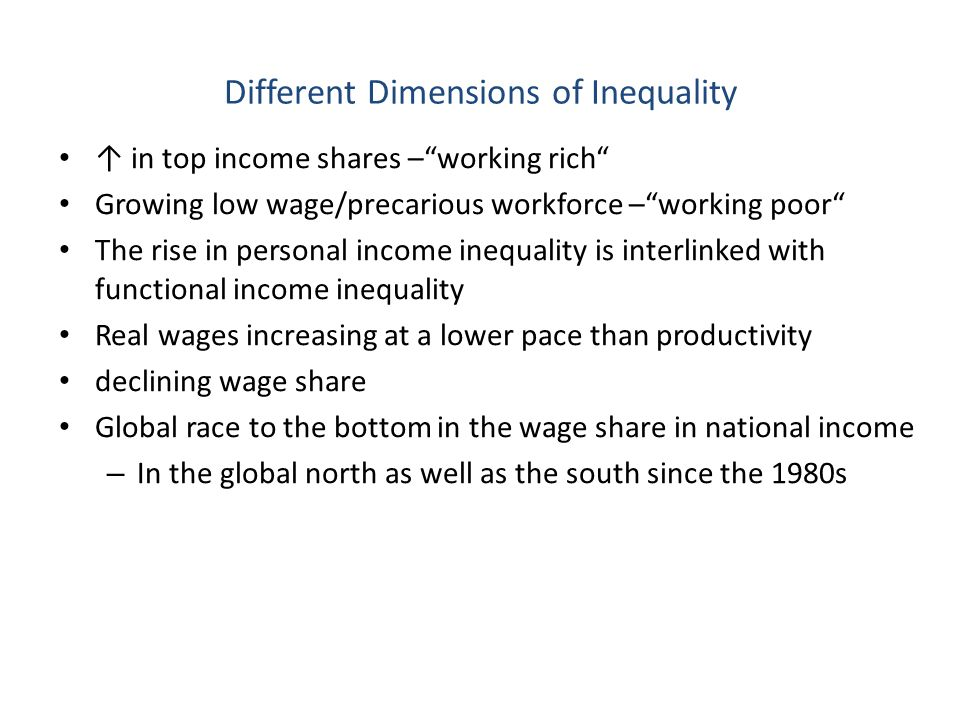 Different Dimensions of Inequality