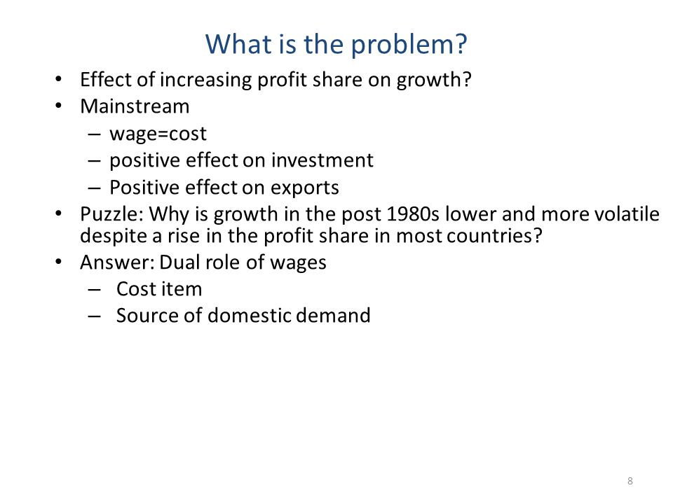 What is the problem Effect of increasing profit share on growth