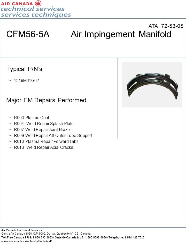 CFM56-5A Air Impingement Manifold