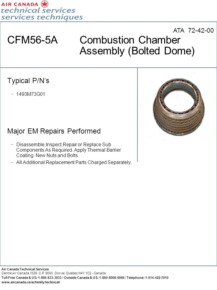 CFM56-5A Combustion Chamber Assembly (Bolted Dome)