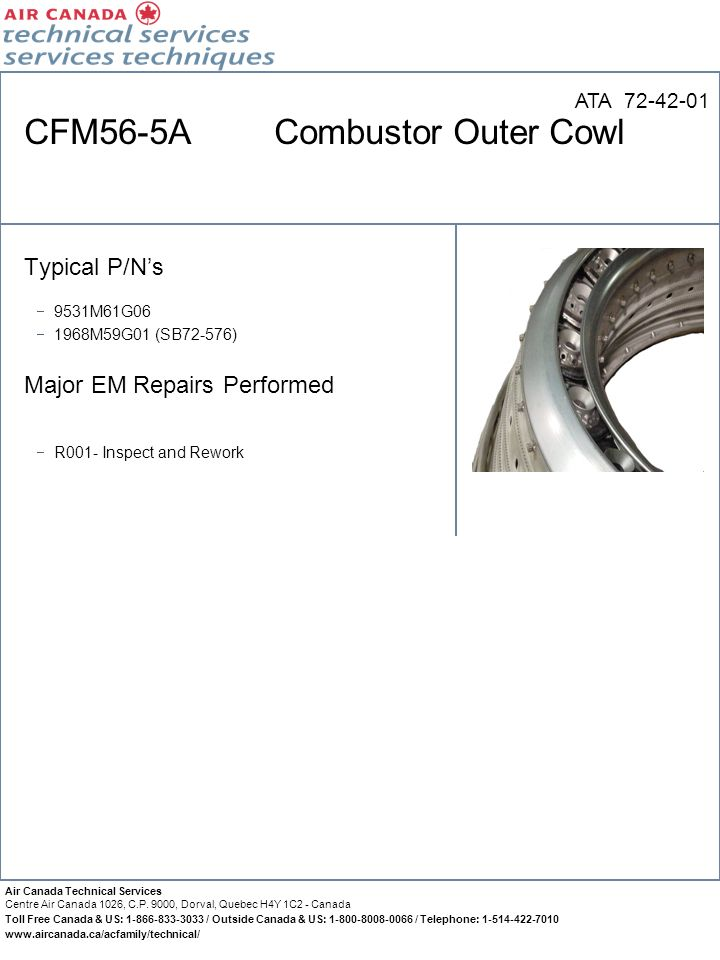 CFM56-5A Combustor Outer Cowl