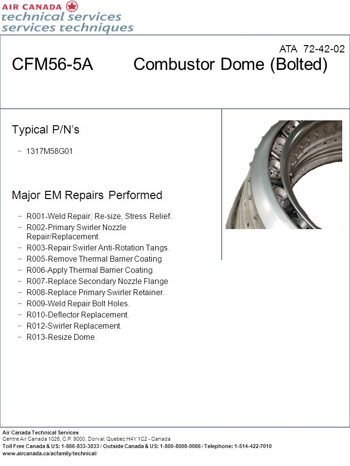CFM56-5A Combustor Dome (Bolted)