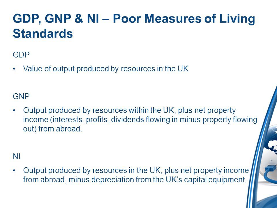 GDP, GNP & NI – Poor Measures of Living Standards