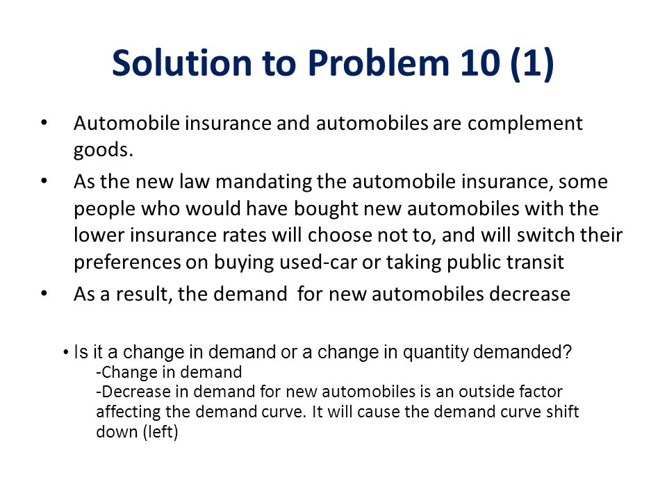 Solution to Problem 10 (1) Automobile insurance and automobiles are complement goods.