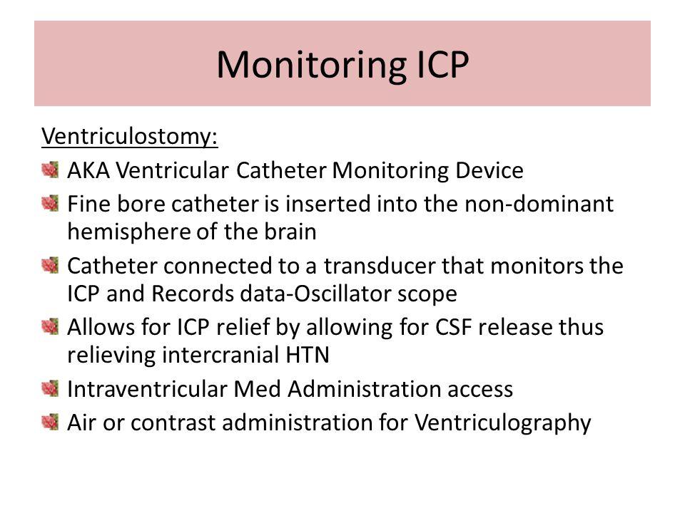 Monitoring ICP Ventriculostomy: