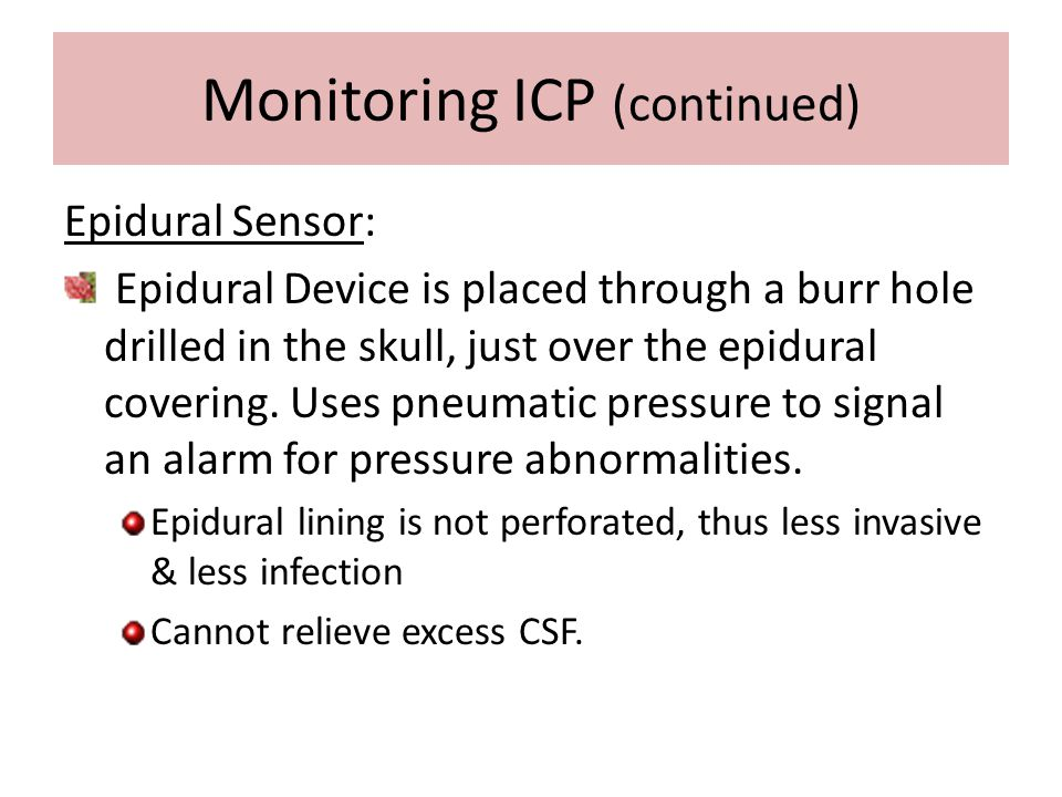 Monitoring ICP (continued)