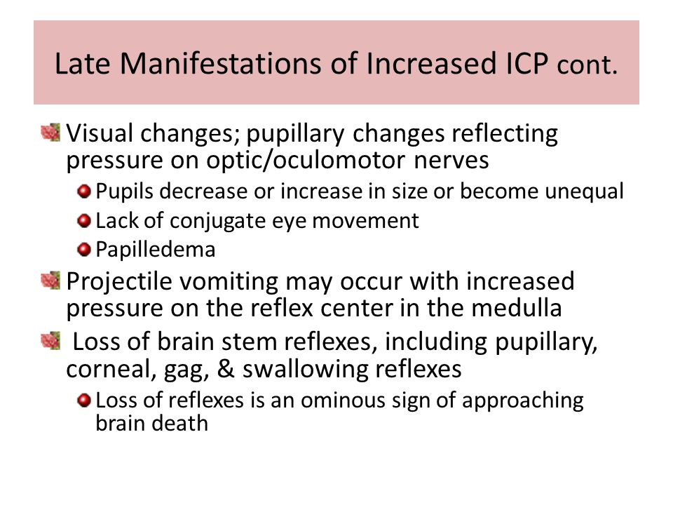 Late Manifestations of Increased ICP cont.