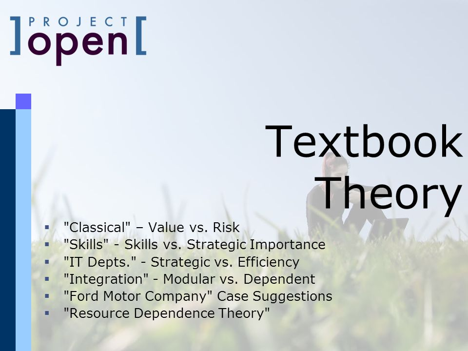 Textbook Theory Classical – Value vs. Risk